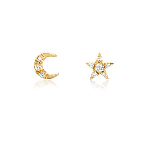Petite Crescent Moon and Star Post Earrings