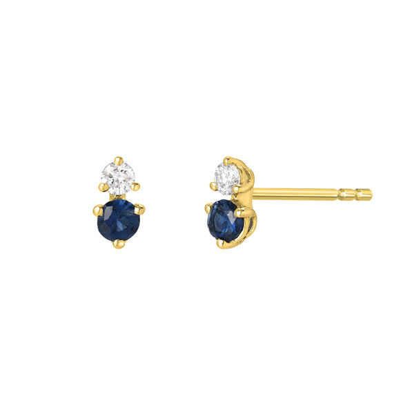 souli mini sapphire and diamond earrings in 14k yellow gold