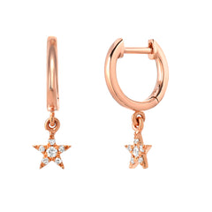 petite diamond star dangling huggies in rose gold