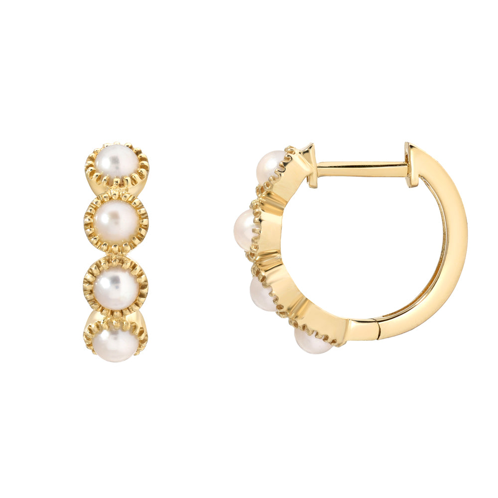 Pearls collection bezel set huggies in yellow gold