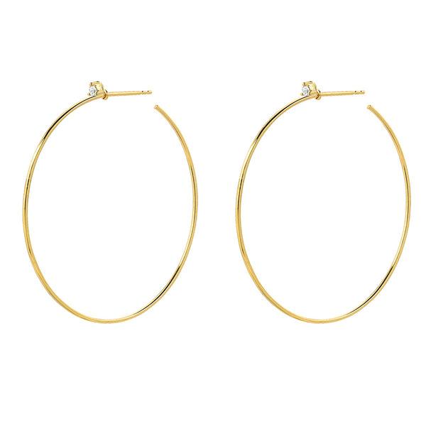 Souli 40mm hoops with top diamonds in 14k yellow gold
