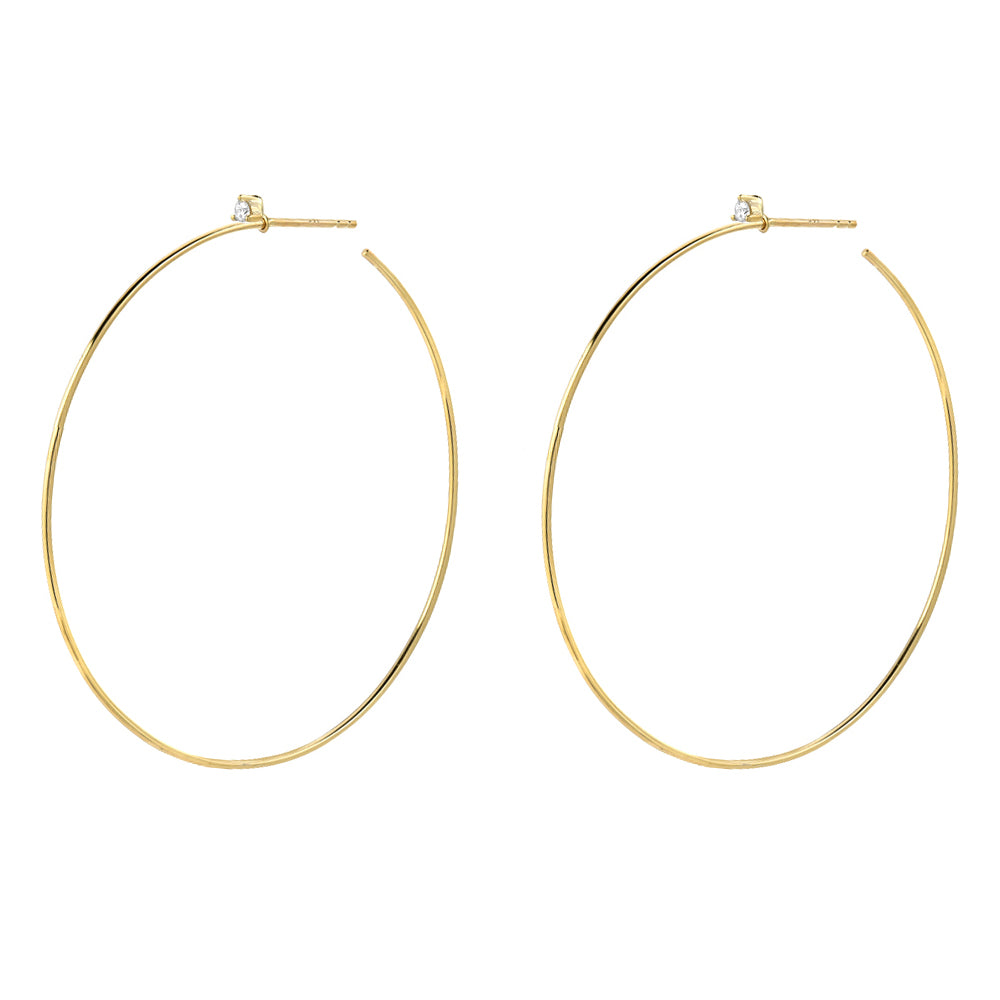 50mm Souli hoops with diamonds at the top in 14k yellow gold