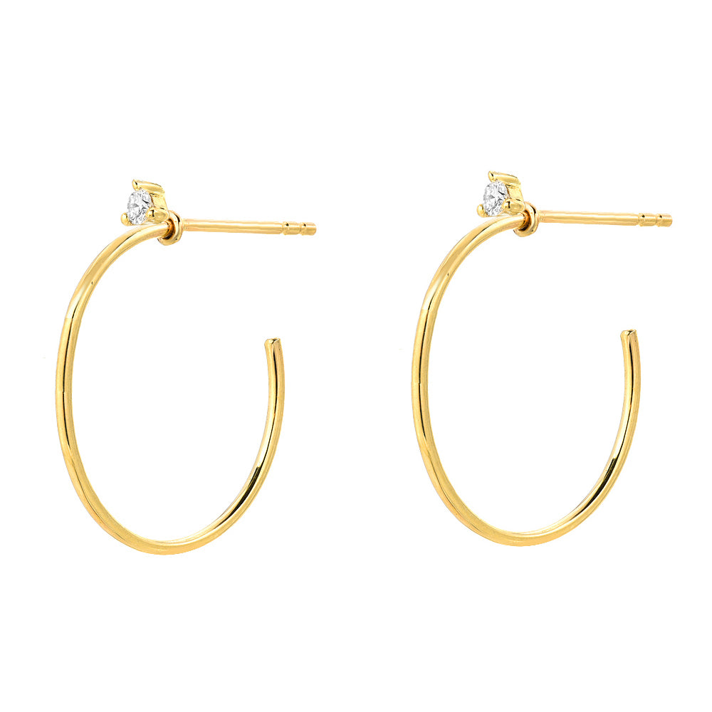 Souli 15mm top diamond hoops in 14k yellow gold