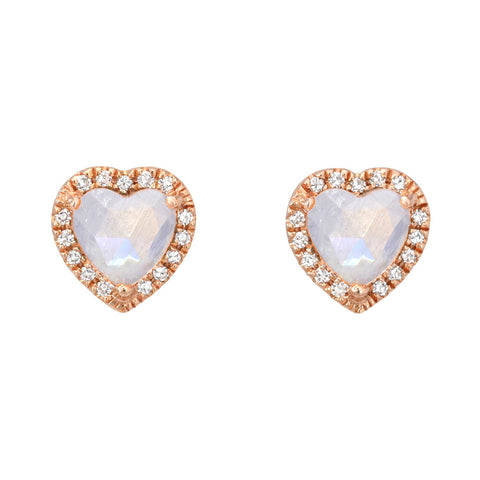 Rainbow Moonstone Diamond Halo Heart Earrings