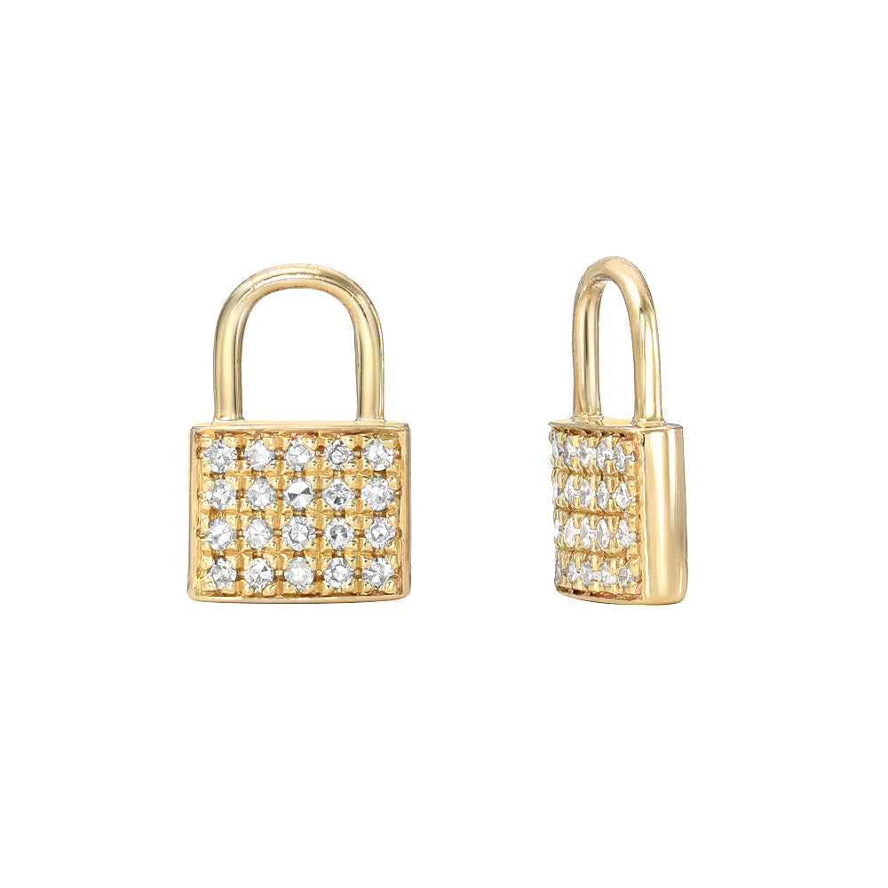 pave diamond and gold petite padlock earring charms