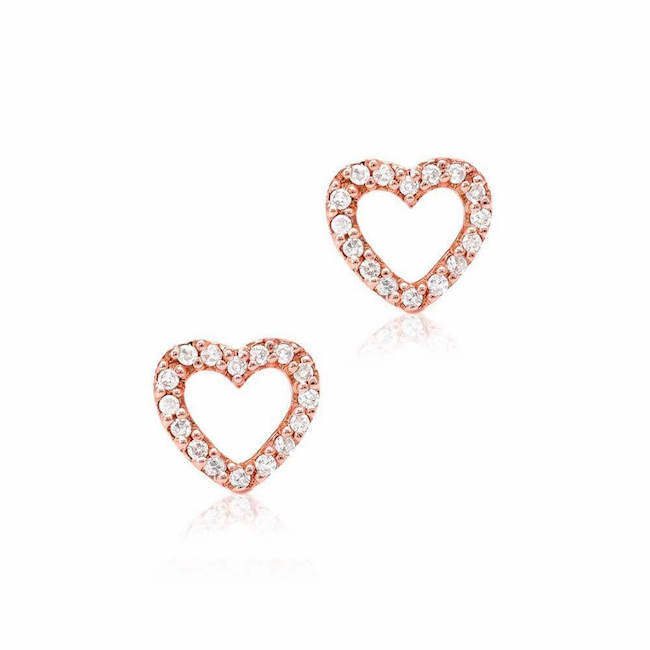 open heart post earrings with diamonds in rose gold