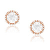 White Topaz stud Earrings in rose gold