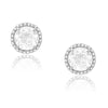 White Topaz stud Earrings in white gold