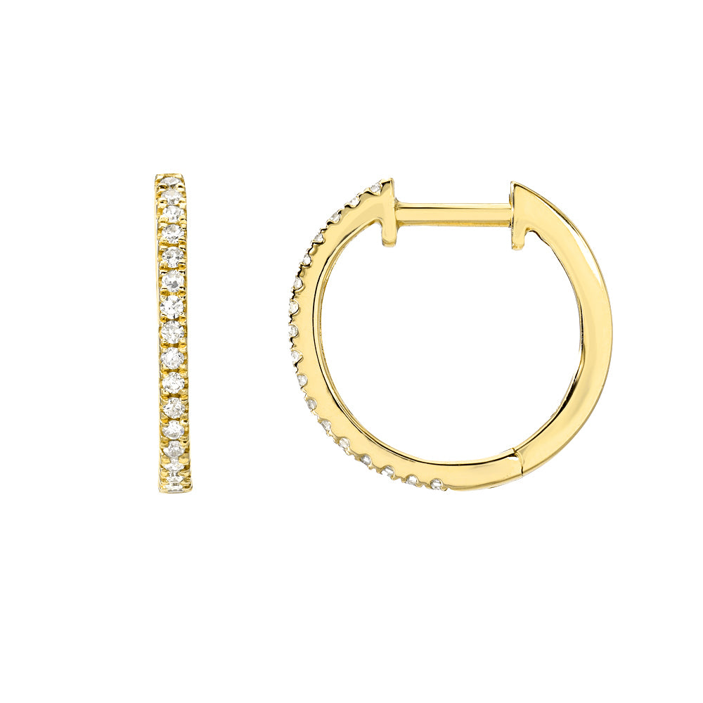 elegant classic huggies in 14k gold with diamonds