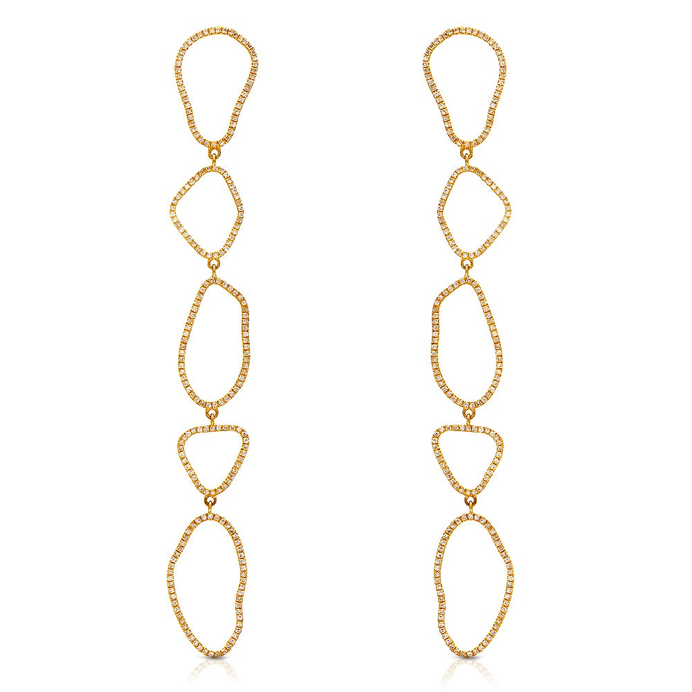 Organic Shape Long Drop Earrings