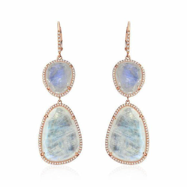 rainbow moonstone and diamond double dangle earrings in rose gold