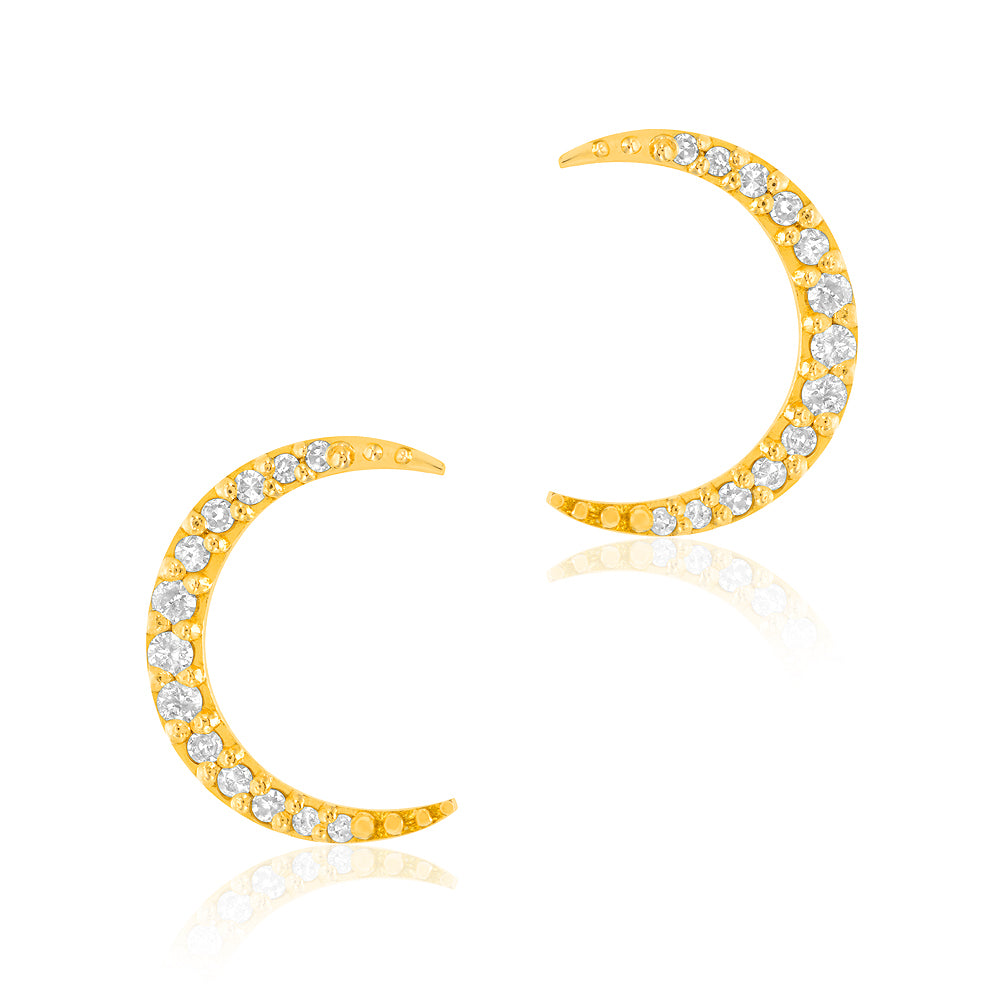 crescent moon post earrings with diamonds in 14k gold