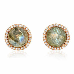 rosie 7.0mm labradorite & diamond post earrings in rose gold