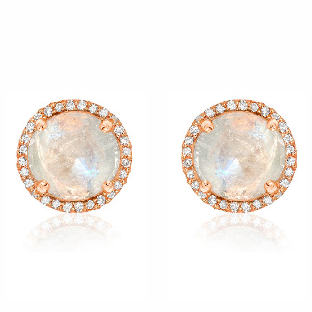 7mm rose cut rainbow moonstone earrings with diamond halo