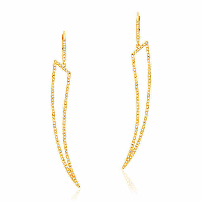 open horn drop earrings with diamonds in yellow gold