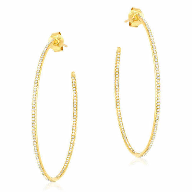 40mm in and out post hoop earrings in yellow gold