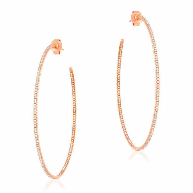 50mm in and out hoop earrings in rose gold
