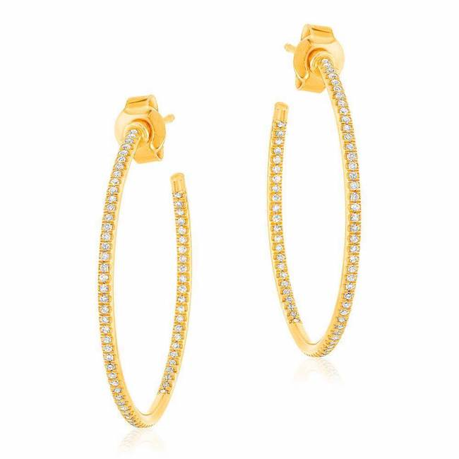 25mm in and out post hoop earrings in yellow gold