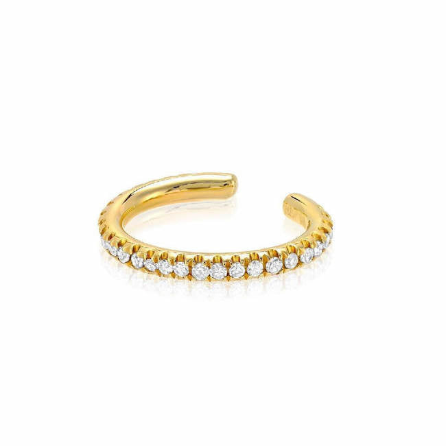 10mm oval shape single row ear cuff with diamonds in yellow gold