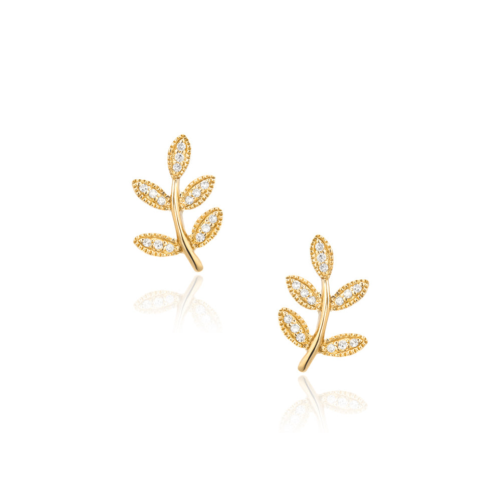 small leaf post earrings in yellow gold