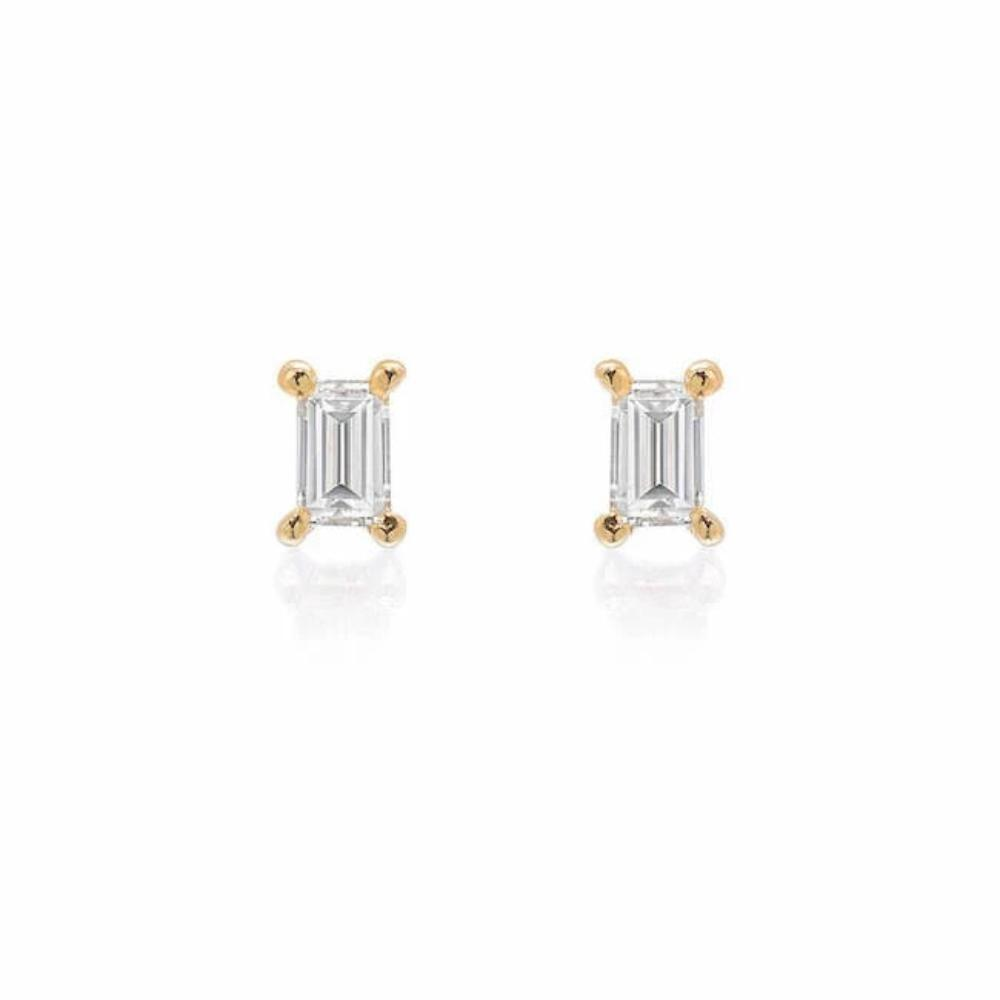 pETITE BAGUETTE DIAMOND POSTS IN YELLOW GOLD
