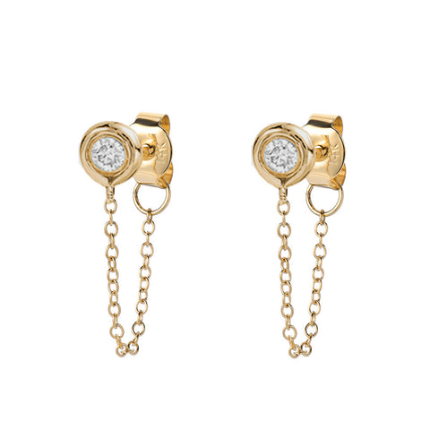 Diamond Bezel Post Earrings With Chains