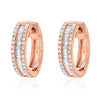 Heirloom baguette diamond huggies in rose gold