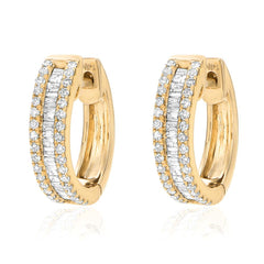 heirloom huggies with micropave diamonds and baguette diamonds