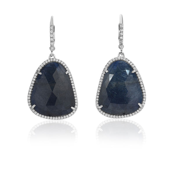 One of a Kind Blue Sapphire Drop Earrings