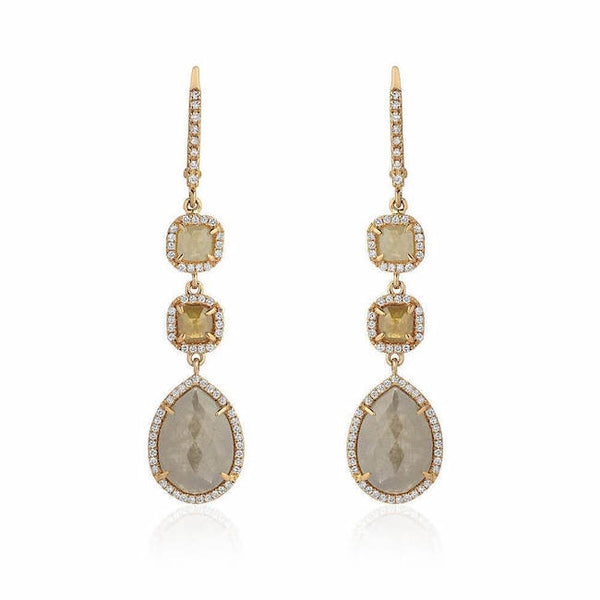 rustic diamond triple drop earrings with white diamonds in yellow gold