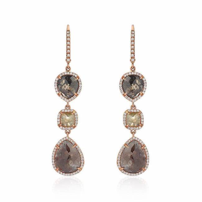 rustic diamond triple drop earrings with white diamonds in rose gold