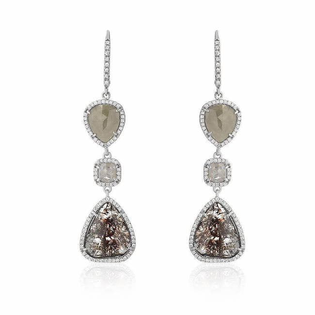 rustic diamond triple drop earrings with white diamonds in white gold