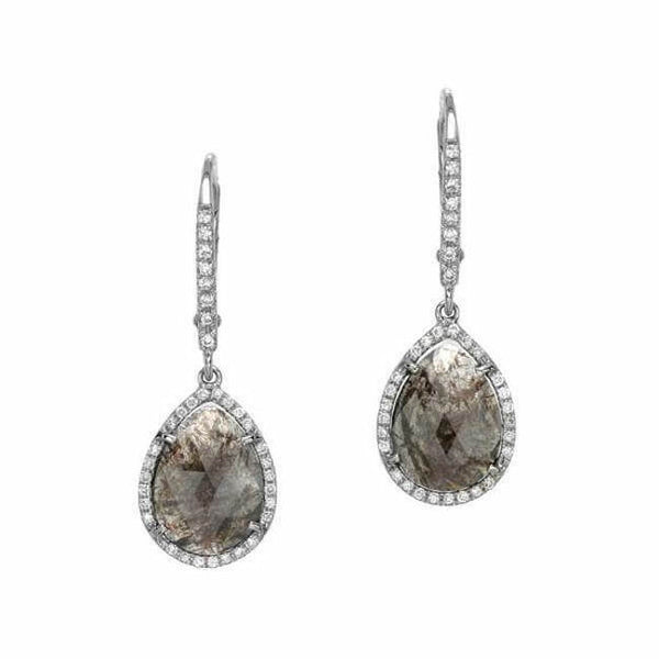 one of a kind rustic diamond dangle earrings in white gold