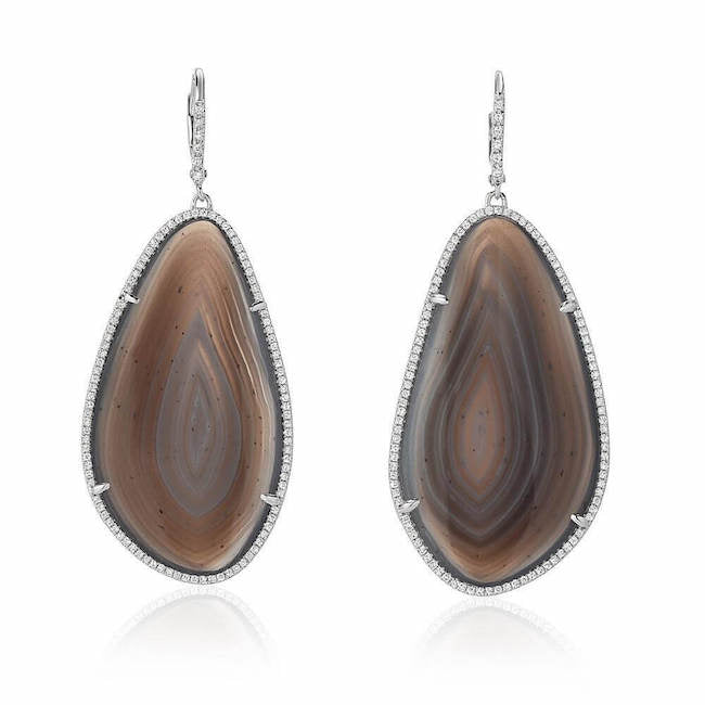 one of a kind agate drop earrings with diamonds in white gold