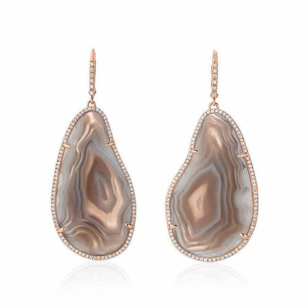 one of a kind agate drop earrings with diamonds in rose gold