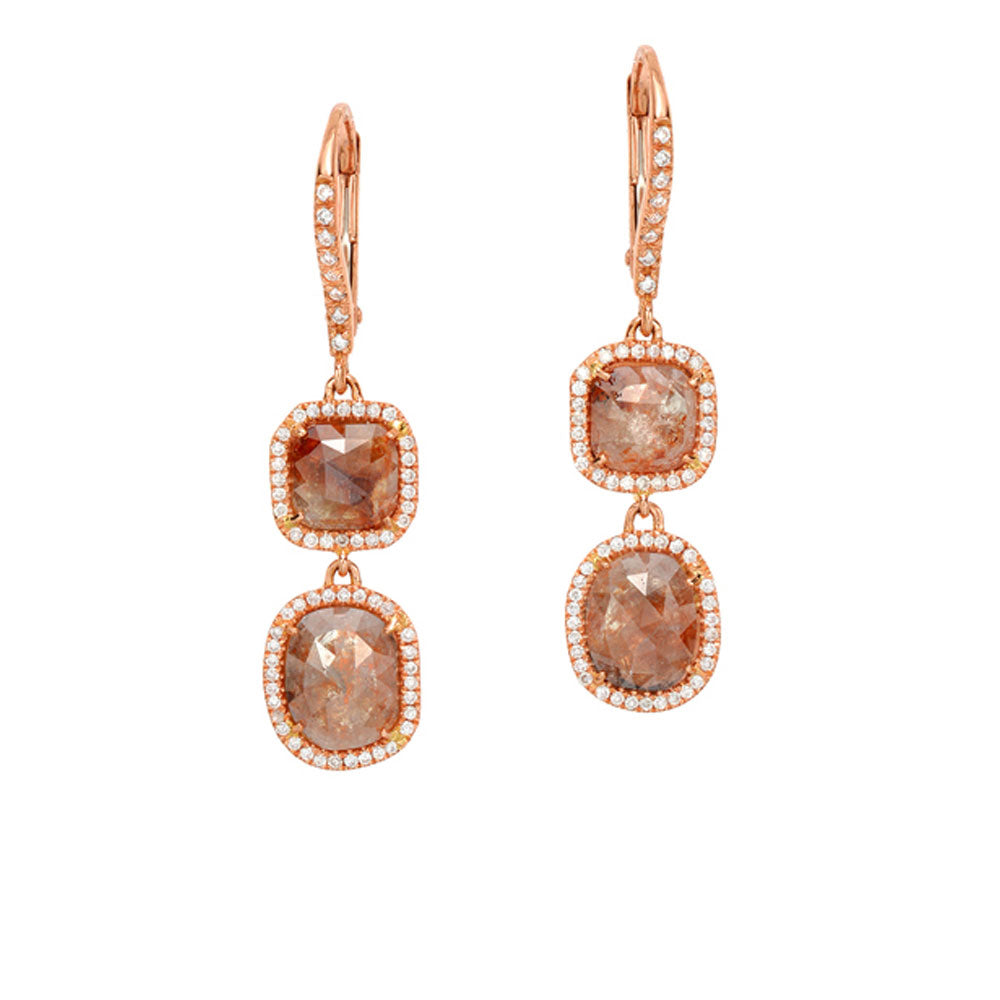 One of a Kind Rustic Diamond Double Dangle Earrings in Rose Gold