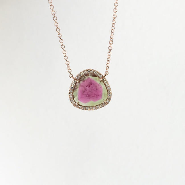 One of a Kind Watermelon Tourmaline Necklace in Rose Gold