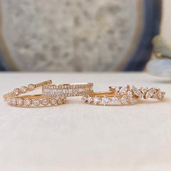 Marquise and round diamond jumble band