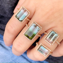 assorted tourmaline rings