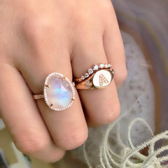 Organic Shape Rainbow Moonstone and Diamond Ring