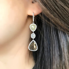 One of a Kind Rustic Diamond Triple Dangle Earrings in White Gold