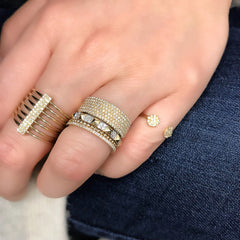 petite pave disc open ring as part of a stack with other liven rings