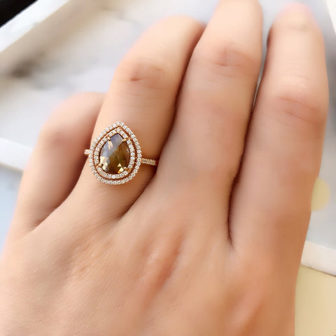 One of a Kind Teardrop Rustic Diamond Double Halo Ring