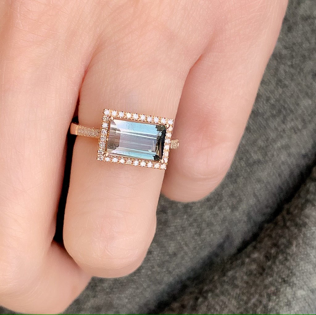 east-west emerald cut bicolor tourmaline ring