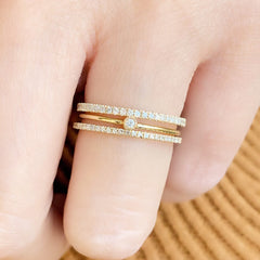 mini bezel band stacked with liven's eternity bands