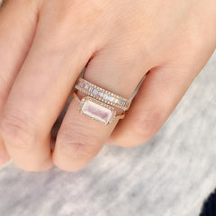 rose gold rainbow moonstone ring stacked with heirloom halfway band
