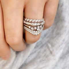 cluster diamond band stacked with other liven rings