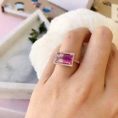One of a Kind Rich Pink Tourmaline Halo Ring in Rose Gold