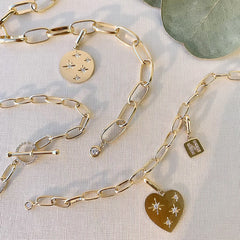 various clip charms on a chain