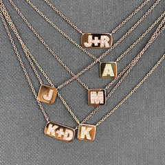 Personalized Diamond Initial Plaque Necklace